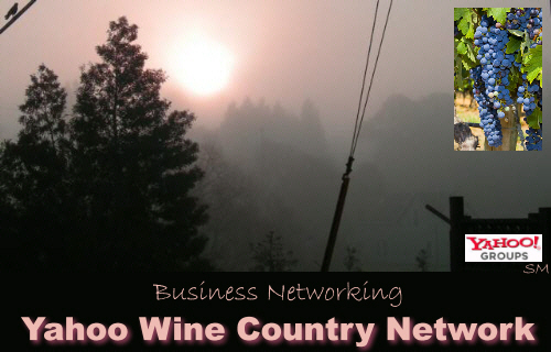 Yahoo Winecountry Network business group. Promote your business at no cost, network with other professionals, business owners, entrepreneurs. Network marketing, business networking, free classifieds, free blogs, home based business opportunities, mlm, residual income, internet opportunities, part time job, Sergio Musetti at ,SergioMusetti.com,